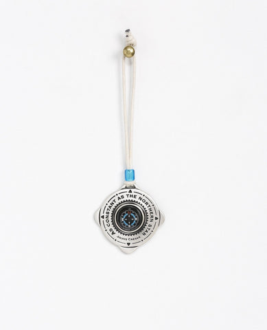 Sterling silver plated car pendant with a blue bead.  Length: 6 cm  Width: 6 cm