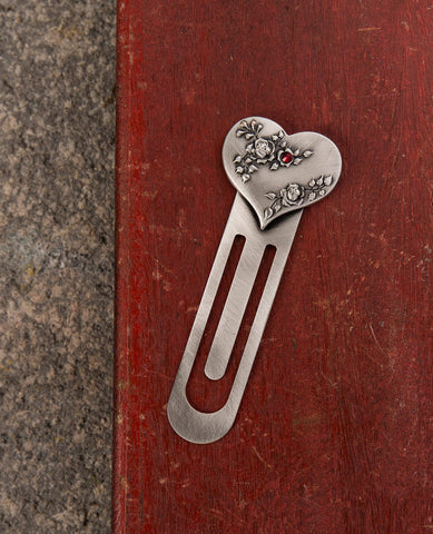 Heart bookmark sterling silver plated with red Swarovsky crystal  Length: 9 cm  Width: 3 cm