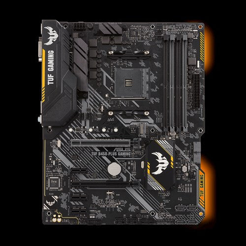Asus TUF AMD B450 ATX Gaming Motherboard with Aura Sync RGB LED lighting, DDR4 3466MHz support, 32Gbps M.2, HDMI 2.0b, Type C and native