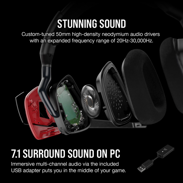 Corsair Void Elite Surround Premium Gaming Headset With Dolby® Headphone 7.1 — Cherry; Console Ready; Usb