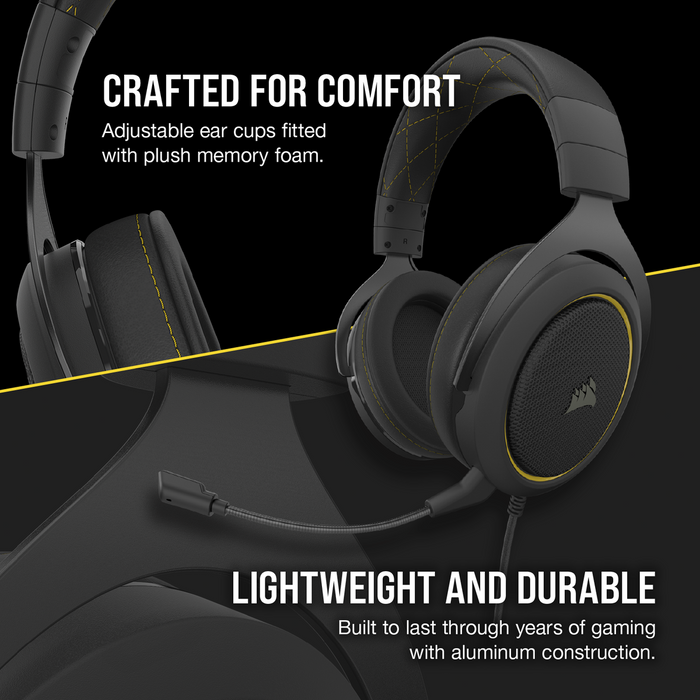 Corsair Hs60 Pro Surround Gaming Headset — Yellow; Console Ready; 3.5mm Analog