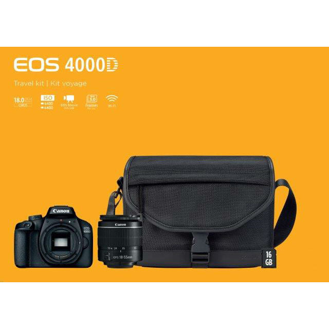 Canon 4000D Starter Kit (EF-S18-55 F/3.5-5.6 III, SB130 Bag, 16Gb SD Card)