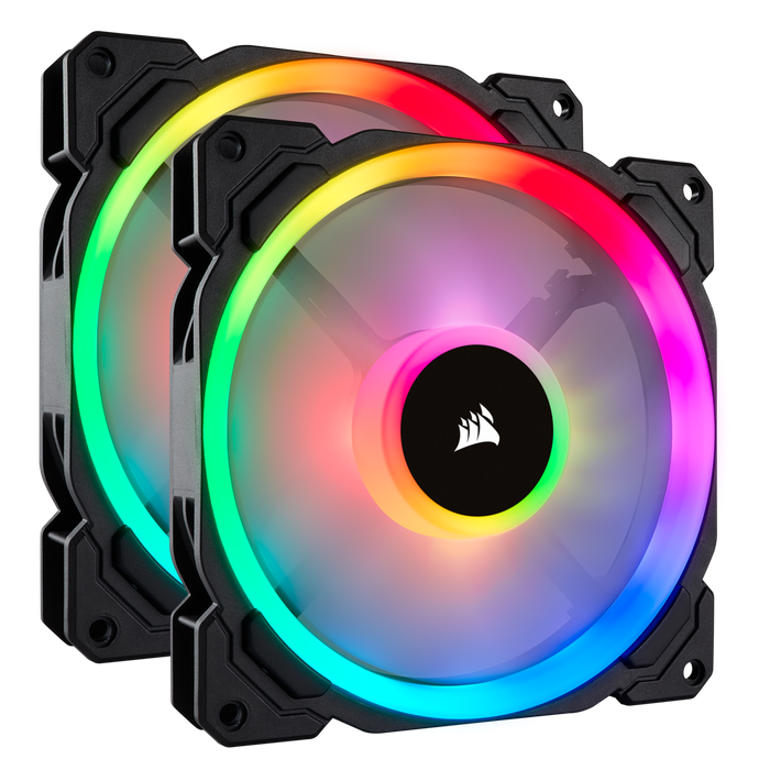 Corsair LL140, Dual Light Loop 140mm PWM Chassis Cooling Fan, RGB LED, Double Pack with Lighting Node Pro