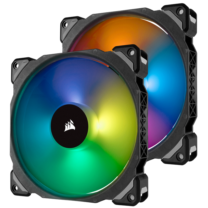 Corsair ML140 Pro, 140mm Magnetic Levitation Chassis Cooling Fan, RGB LED; Double Pack with lighting Node Pro