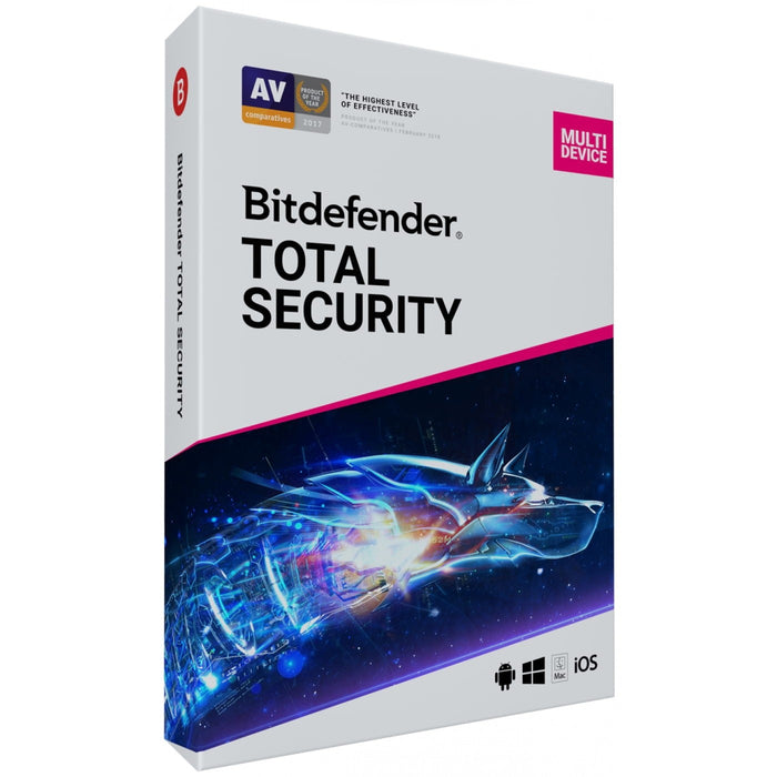 Bitdefender Total Security; Complete Anti-malware Protection: Windows; macOS; Android and iOS - 3 Device 1 Year (ESD)