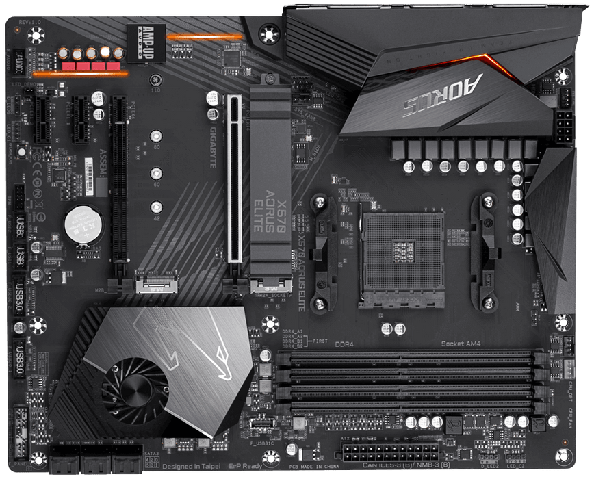 Gigabyte AMD X570 Elite Chipset for AMD Ryzen with Vega Graphics, 2xDual DDR4, 2xM2, HDMI, ATX, Quad Xfire
