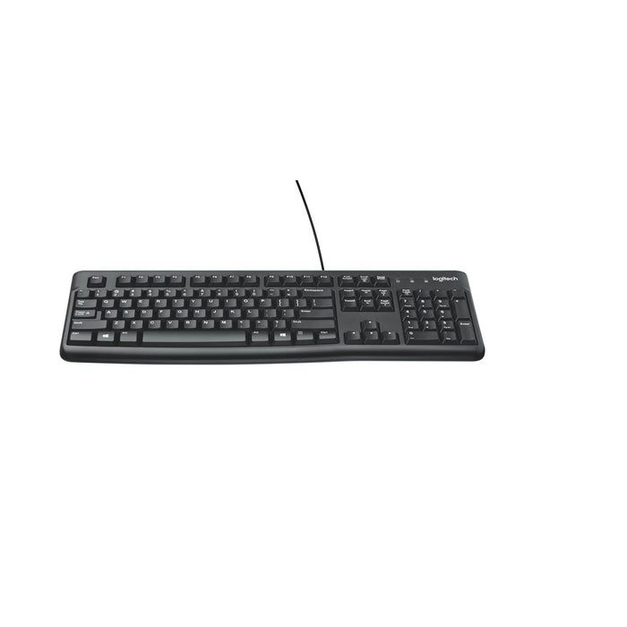 Logitech Corded Keyboard K120 comfortable quiet typing a sleek yet sturdy design and a plug and play USB connection spill resist
