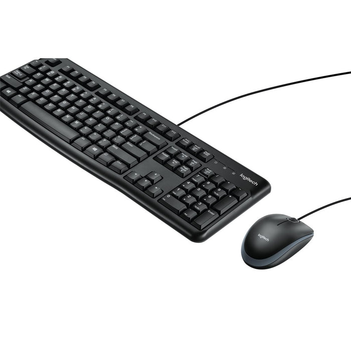 Logitech Corded Keyboard and Mouse Combo MK120 Comfortable quiet typing spill resistant design high definition optical mouse wit
