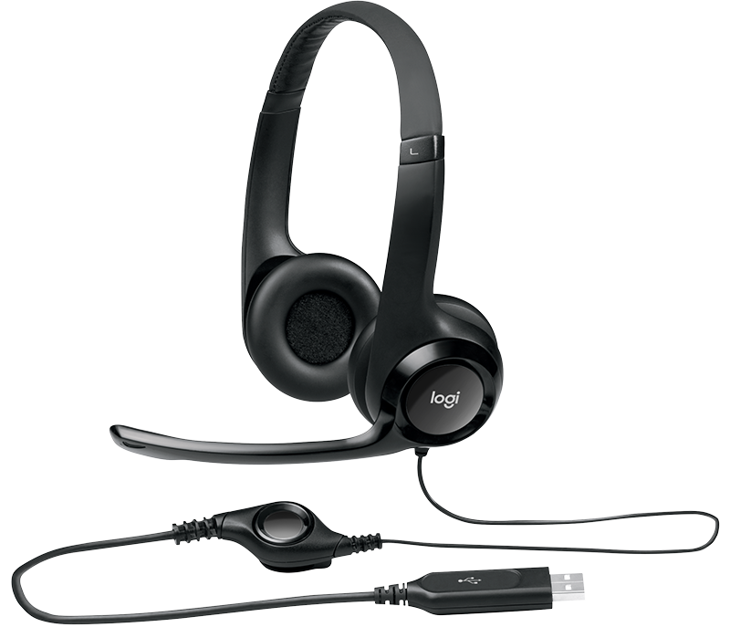 Logitech Headset H390 Black USB Stereo Internet Headset, Adjustable Headband, Noise Cancelling, Rotating Microphone