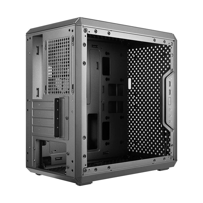 Cooler Master Masterbox Q300L Micro ATX Desktop Chassis, Modular I/O Panel, Black, Side Window, 1x120mm Fan, Patterned Magneti