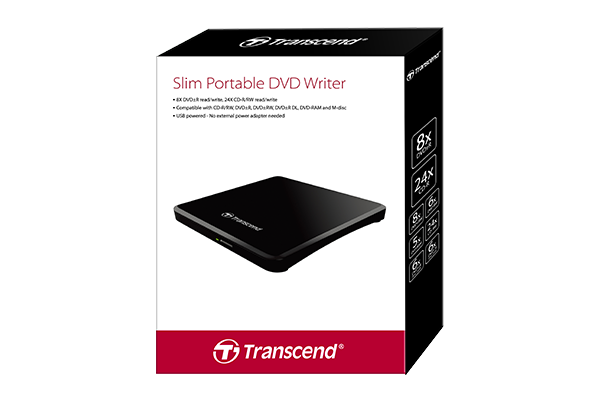 Transcend 8X Ultra-Slim USB DVD-RW - Black