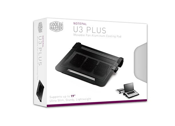 Cooler Master U3 Plus, Black, Universal Notebook Cooling Stand; 3x80mm Fans; Up to 19''