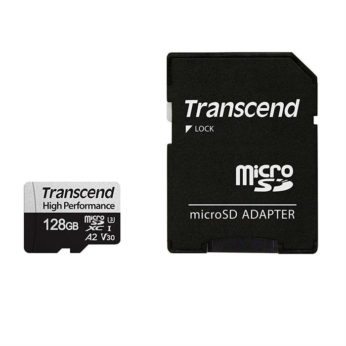 Transcend 330S 128GB High Performance MicroSD UHS-I  U3 V30 A2 Class10 - Read 100 MB/S, Write 85MB/S - With SD Adaptor - TLC