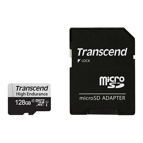Transcend 350S 128GB High Endurance MicroSD UHS-I  U1 CLASS10, Read 100MB/S, Write 45MB/S, with SD Adaptor