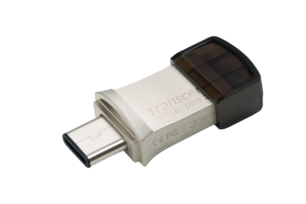 Transcend 32GB Jetflash 890 USB-C & USB 3.1 OTG Flash Drive - Silver
