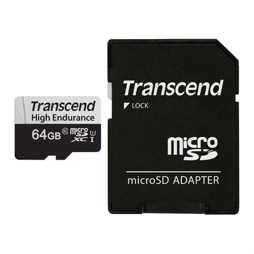 Transcend 350S 64Gb High Endurance MicroSd Uhs, U1 Class10 Read 100Mb/S, Write 45Mb/S, 80Tbw Endurance With Sd Adapter