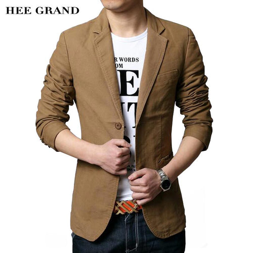 HEE GRAND Men's Casual Blazers 2017 Hot Sale Leisure Suit Fashion Slim Fitted Male Blazers Single Breasted Costume Homme MWX413