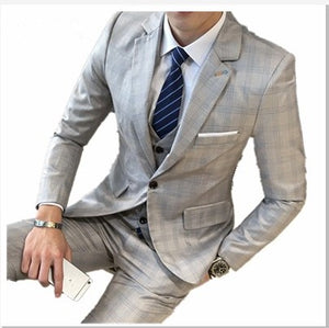 2017 new men's Blazer Slim business casual Tibetan blue checkered four-season dress new wedding dress business casual men's Bla