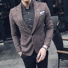 2017 autumn and winter Korean Slim thin striped woolen a buckle casual men's Blazer jacket gentleman British style coat