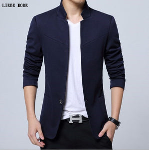 Big Mens Chinese Blazers Casual XXXL 4XL 5XL New Arrivals 2017 Blue Black Grey Red Stand Collar Blazer Mens Fashion Clothing