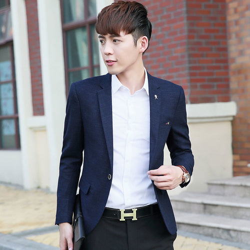 2017 Mens Korean slim fit fashion cotton blazer Suit Jacket black blue   Male blazers Mens coat Wedding dress