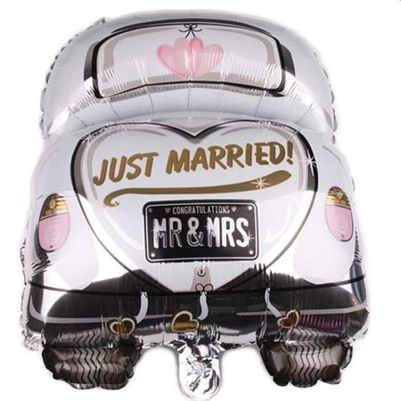 Balon folie Just Married MR&MRS, forma masina, inaltime 59 cm, forma masina, multicolor