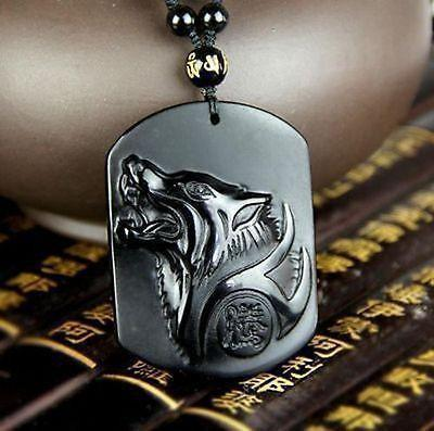 collier obsidienne noire, collier loup, collier loup pas cher, collier obsidienne pas cher, collier anti stress, collier fantaisie, pendentif loup, pendentif obsidienne noire