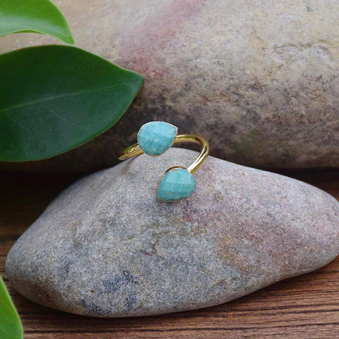 bague ajustable en amazonite
