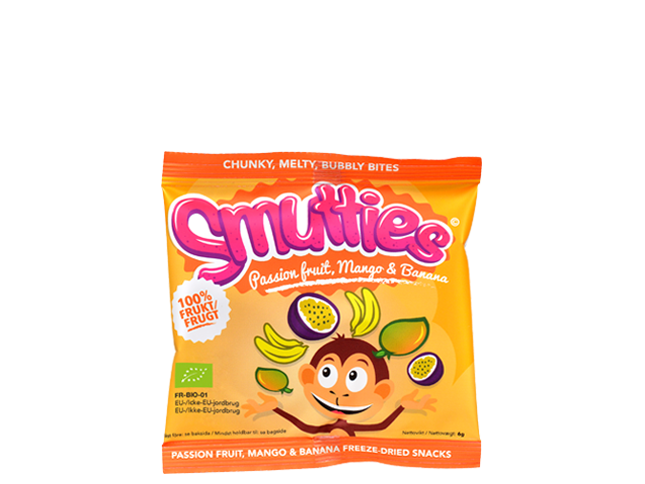 Smutties frugtsnacks - Banana / Mango / Passion, økologisk (6 g)
