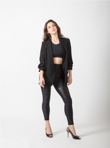 Rebecca Leung in BYO Active black moto leggings