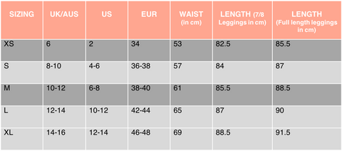 BYO ACTIVE Leggings sizing chart
