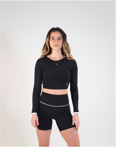 Forget Me Knot - Long sleeved Crop Top (Black & White)