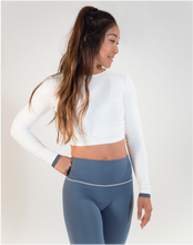 Forget Me Knot - Long sleeved Crop top (White & Blue)