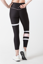 Black and Pink striped Leggings with zip pocket