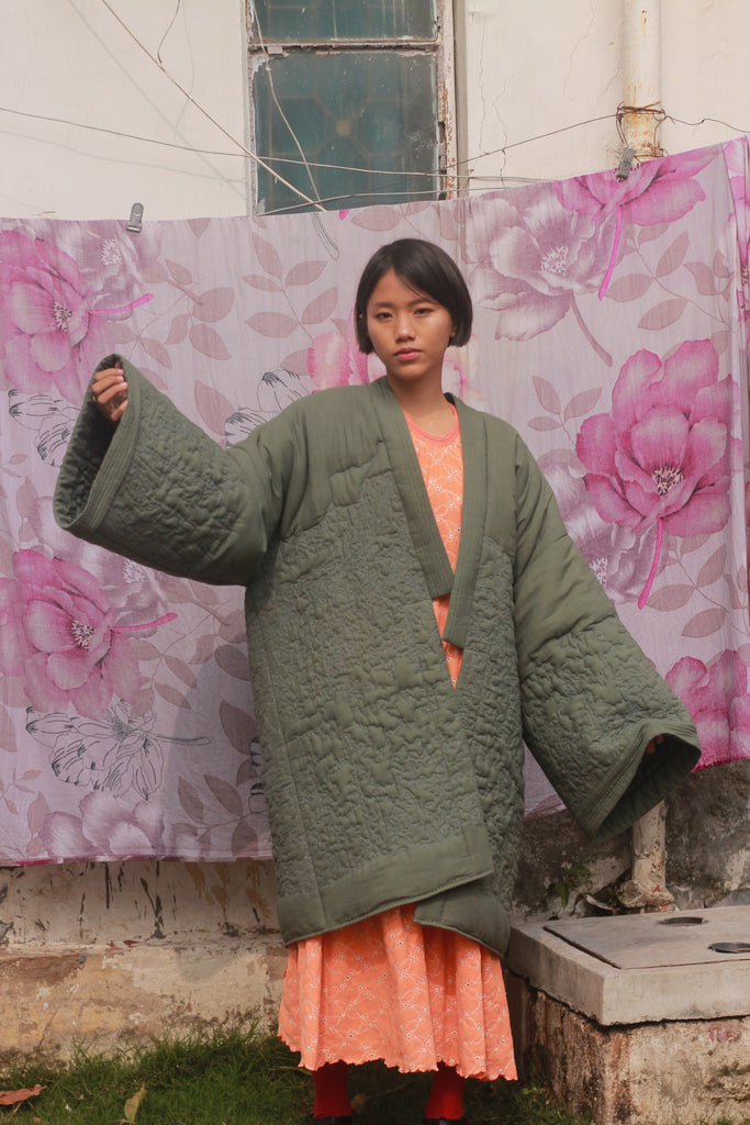 Neera Quilted Robe/ Fern