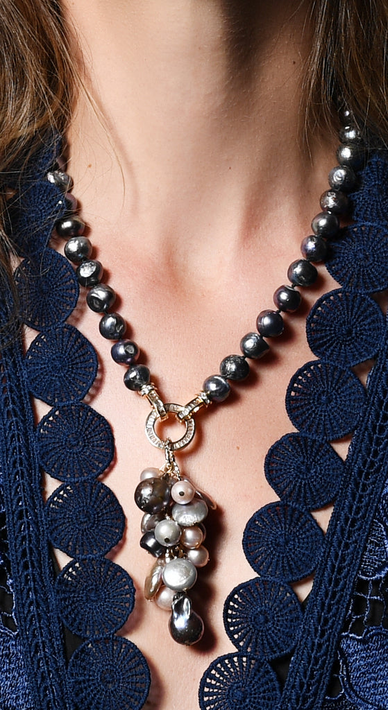 BLACK PEARL WITH MULTI BAROQUE DROP