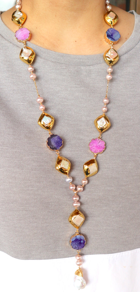 PINK AND PURPLE DRUZY WITH BAROQUE DROP