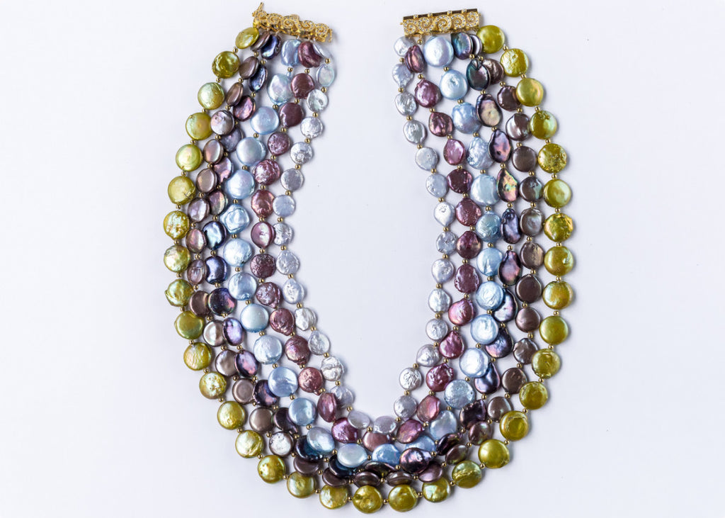 SIX TIER CHUNKY MULTI COIN PEARL NECKLACE-GREEN BASE