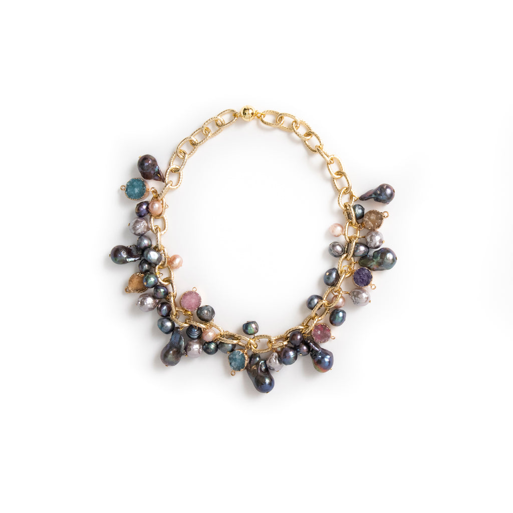 CHUNKY BLACK BAROQUE WITH DRUZY