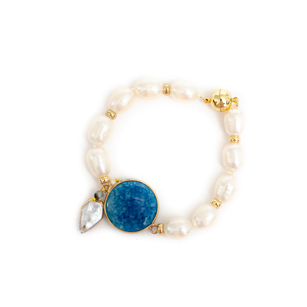 SMOOTH BLUE AGATE AND PEARL BRACELET