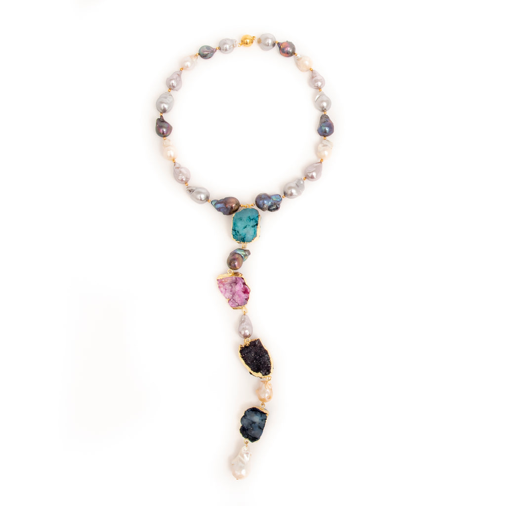 BAROQUE Y SHAPE NECKLACE WITH 4 TER DRUZY