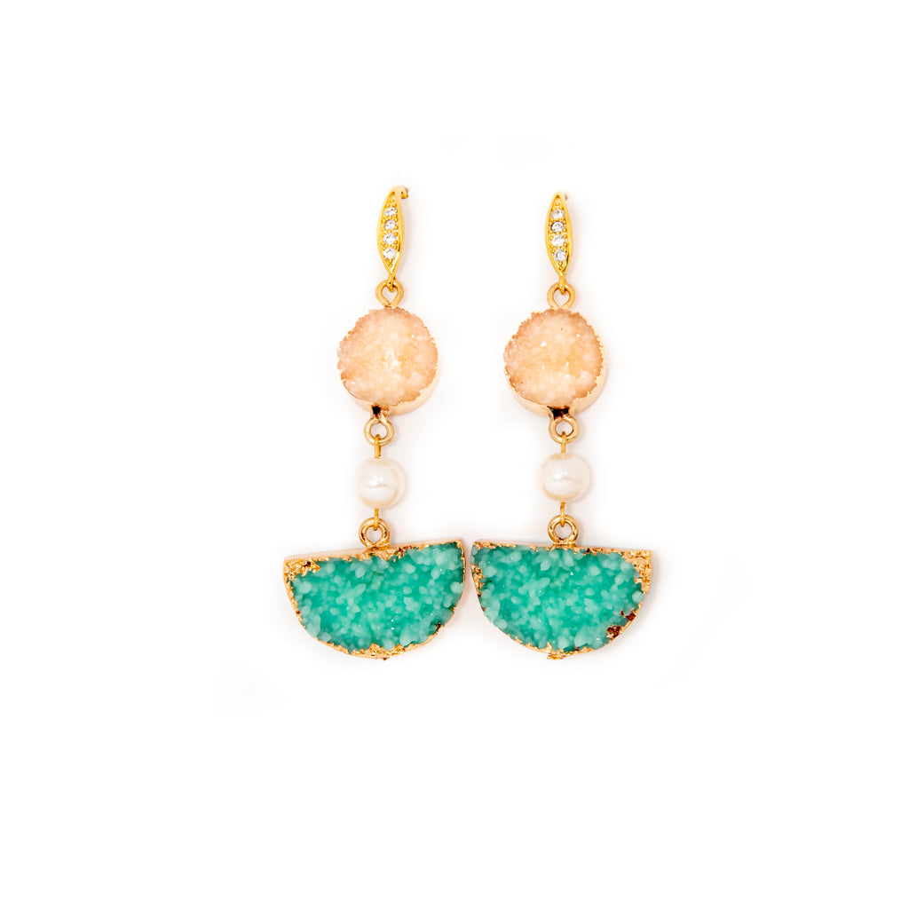 CULTURED  DRUZY AND PEARL EARRING