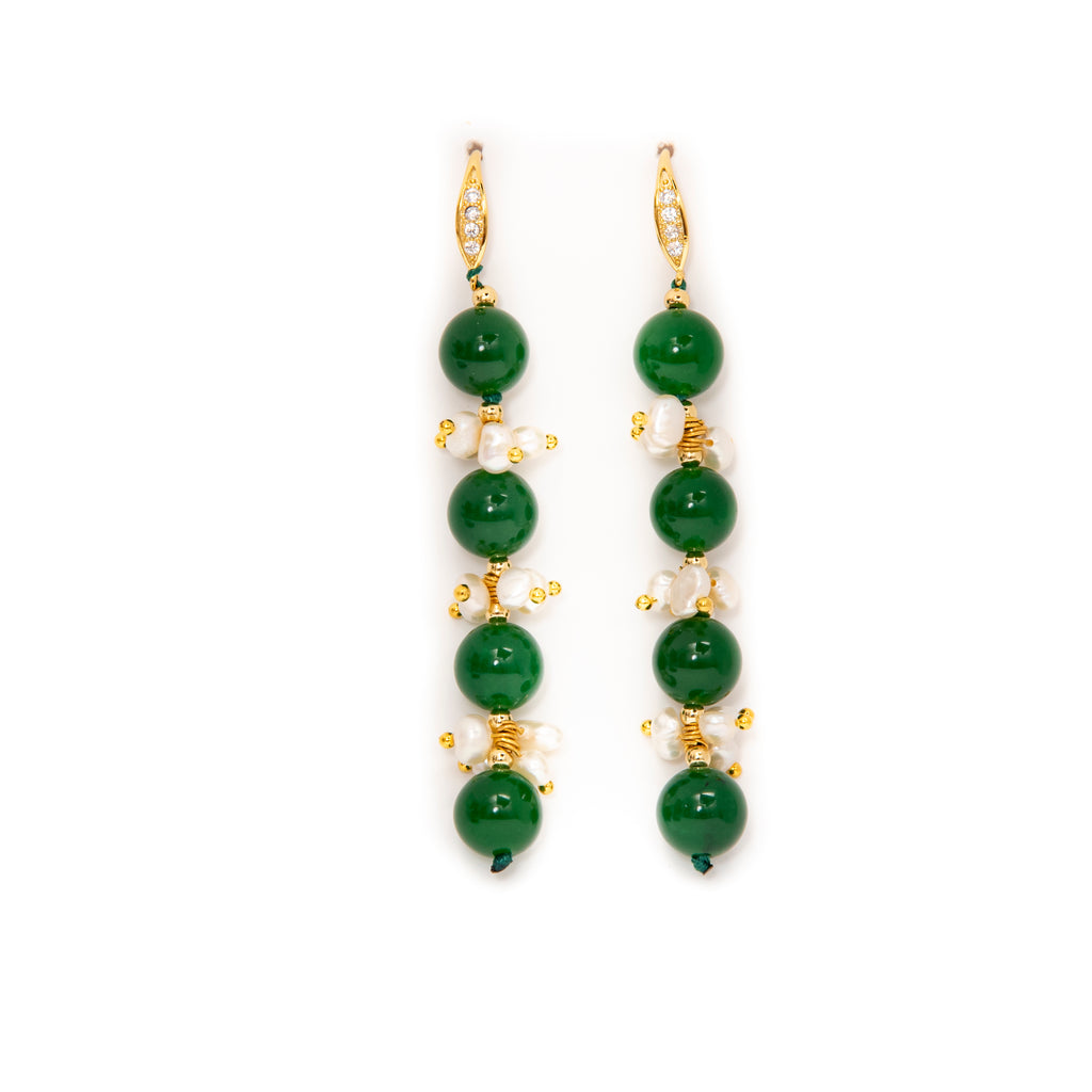 JADE AND PEARL EARRINGS(LONG)