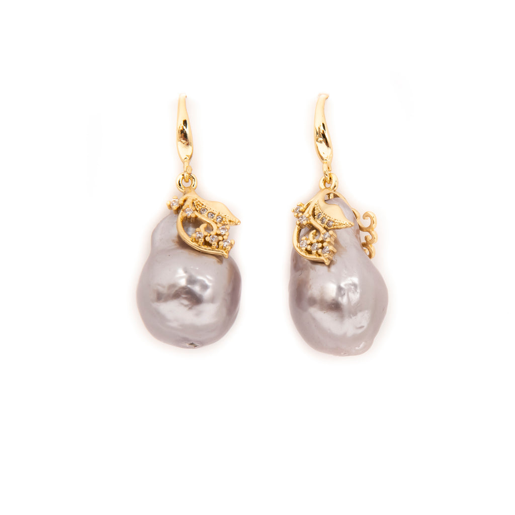 SILVER BAROQUE PEARL EARRINGS