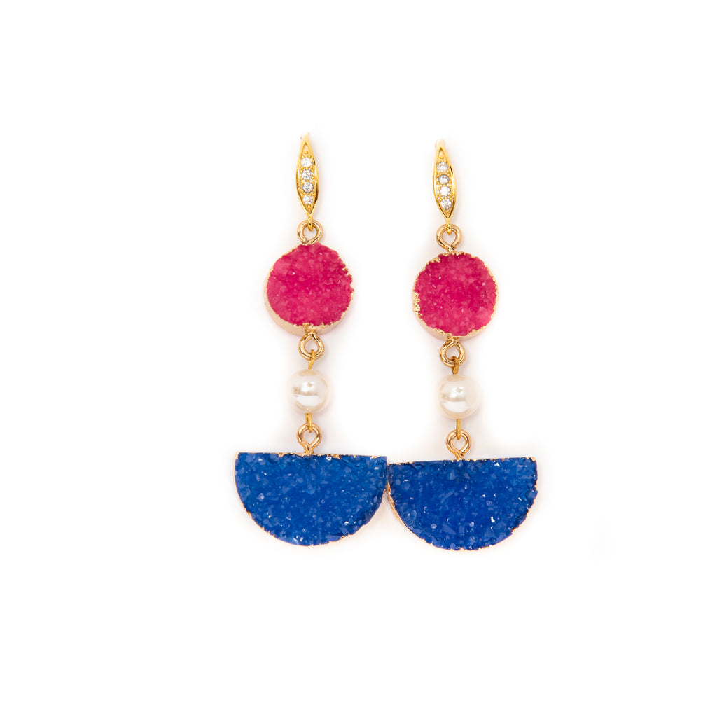 PEARL AND CULTURED DRUZY EARRINGS