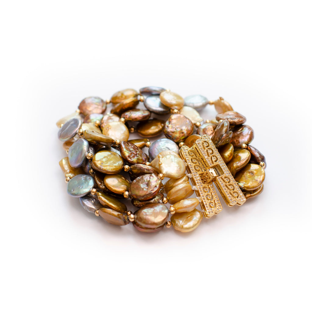 MULTI COLURED COIN PEARL BRACELET
