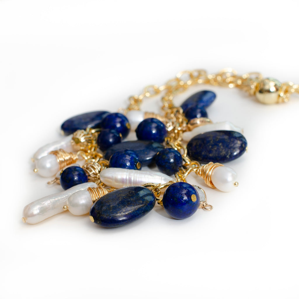 LAPIS AND PEARL WITH LOOP CHAIN