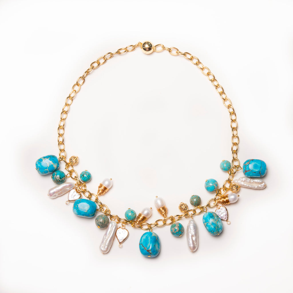 TURQUOISE AND PEARL LOOP NECKLACE