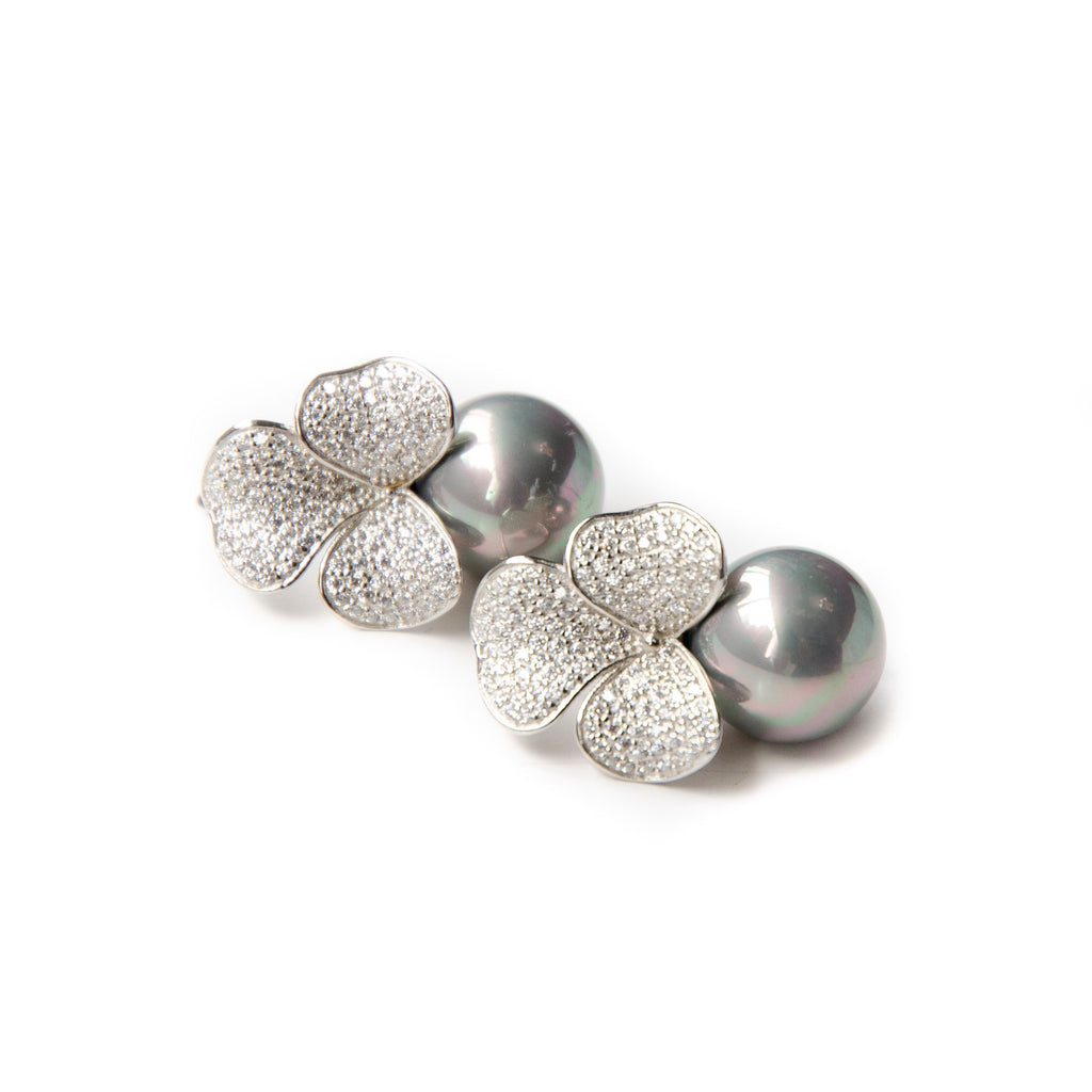 GREY PEARL WITH FLORAL ZIRCONIA