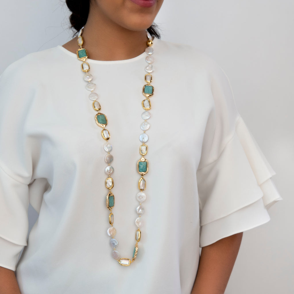NATALIYA COIN PEARL NECKLACE